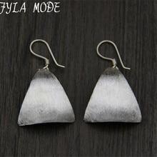 Top Quality High Polish 925 Thai Silver Smooth Triangle Dangle Earrings Women Lady Fashion Ear Jewelry