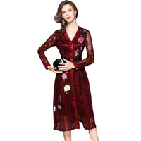 Early Autumn Womens High End Hollow Out Embroidery Dresses Femininos Europe Elegant Lace Dress W592