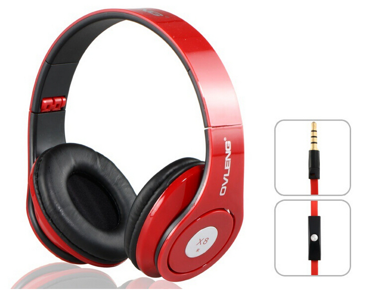 OVLENG X8 Wired Headset Headphone Folding Portable Game Stereo with Microphone 3.5mm Audio Cable for Cell Phone PC MP3 Computer