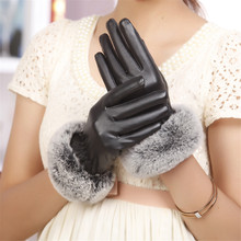 woman fashion Lady Black PU Leather Gloves Autumn Winter Warm Rabbit Fur female gloves Guanti invernali donna