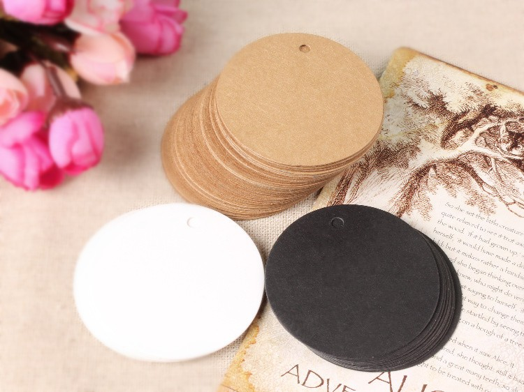 100pcs 5cm round Antique Craft Paper Gift Cards Tags with Swirl Edges for Wedding Decoration Card Scrapbooking Paper Crafts in Craft Paper from Home Garden