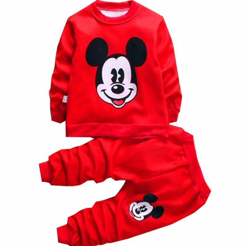 Christmas Autumn Mickey Minnie Sport Sweatshirt Autumn Set Children Girls Kids Clothes Set Kids Boys Coats Warm Wool Pants Suit