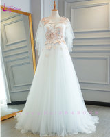 Waulizane Soft Organza Forest series light Wedding Dresses Backless Appliques Lace Up Illusion A Line Scoop Bridal Gowns