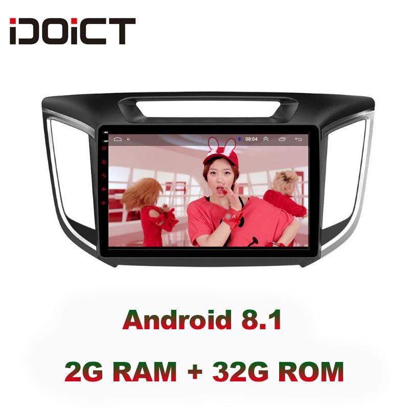 IDOICT Android 8.1 IPS 2G + 32G lecteur DVD de voiture GPS Navigation multimédia pour Hyundai Creta IX25 Radio 2014-2018 autoradio