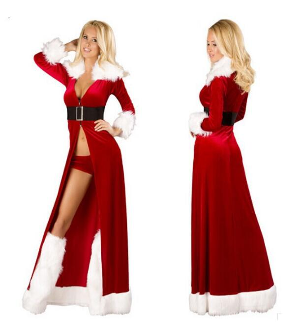 Hot Women Sexy Christmas Cosplay Costumes Halloween Festival Uniform Long Dress Santa Clause For Women Sexy Lingerie