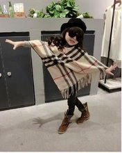 Baby girl clothes More color Winter Fashion Paid Printed scarf kids Warm poncho free size for 1-6 years