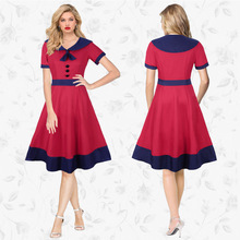Retro Elegant New Women's Polo XL High Waist Dress