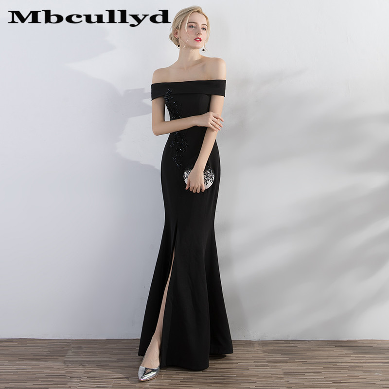Mbcullyd Sexy African Black Mermaid   Prom     Dresses   For Women 2019 Strapless High Split Vestidos de fiesta de noche With Beading