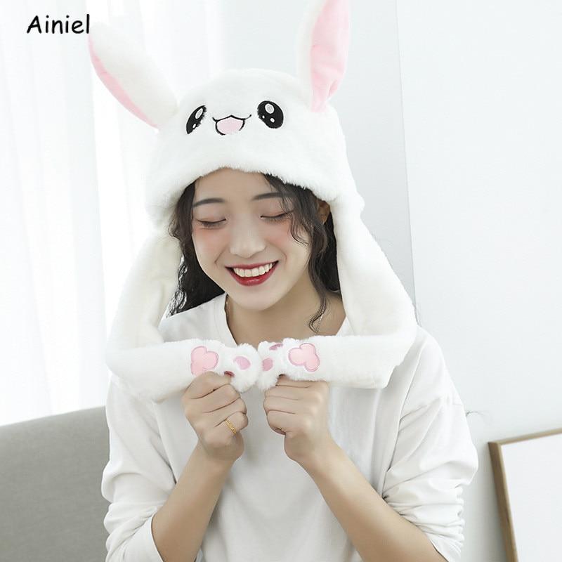 Hot Hat Rabbit Ears Plush Sweet Cute Airbag Animal Cap Plush Bunny Ears Headwear Gift Shake Ear Rabbit Hat Children Girls Women