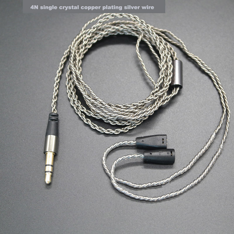 PIZEN SC25 Single crystal copper Plated Silver Cable Upgrade Cable Ues For shure se215 se535 ie80 ie8 for senfer 4IN1 DT2 PLUS