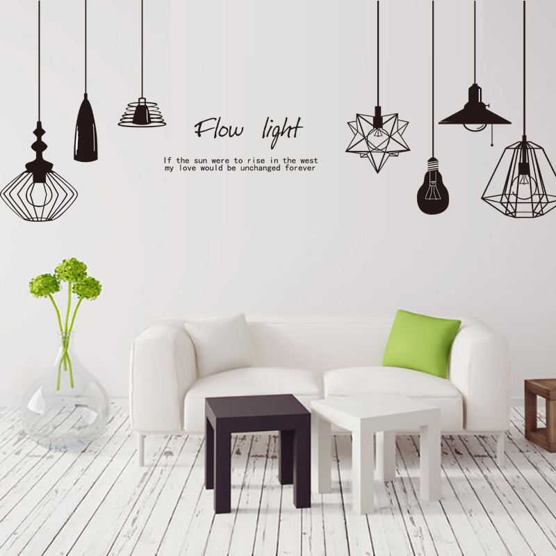 [Shijuehezi] schwarz kronleuchter wandaufkleber vinyl diy wandleuchte - Wohnkultur