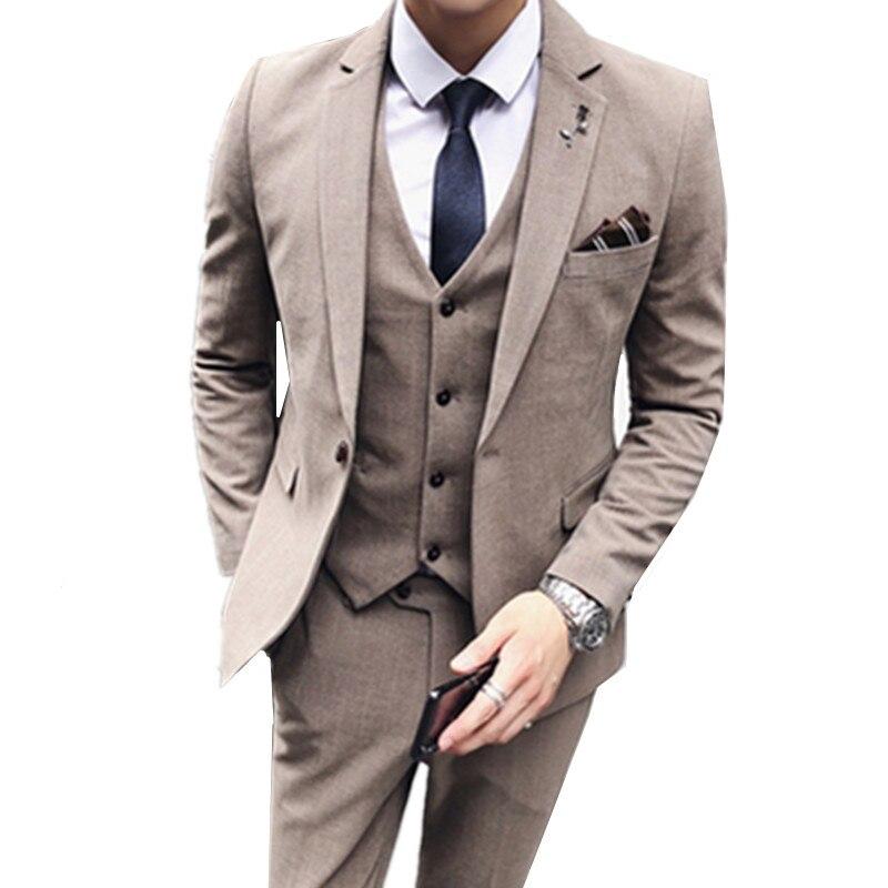 Blazers Jacket Pants Vest  / Fashion New Men's Casual Boutique Business Solid Color Suit Coat Trousers Waistcoat 3 Pieces Set