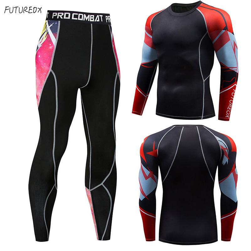 Men's Union Clothing Compression Men's T-Shirt + Tights Kit Long Sleeve Tops MMA Fitness Sportswear Thermal Underwear Shirt