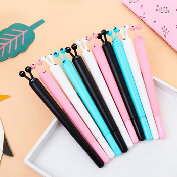 50pcs/set Cute Stationery Snail Neutral Pen Creative Insect Neutral Pen Summer New Plastic Student Water Pen Factory Direct Sale