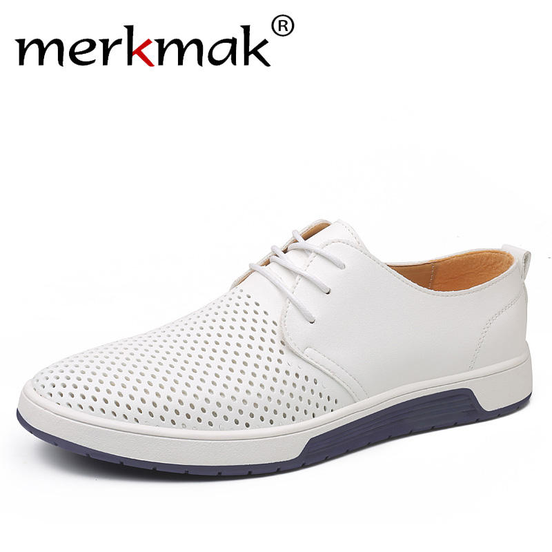 Merkmak marca verano hombres cuero Casual zapatos moda transpirable agujeros blanco ocio zapatos planos tamaño grande 37-48 conductor calzado