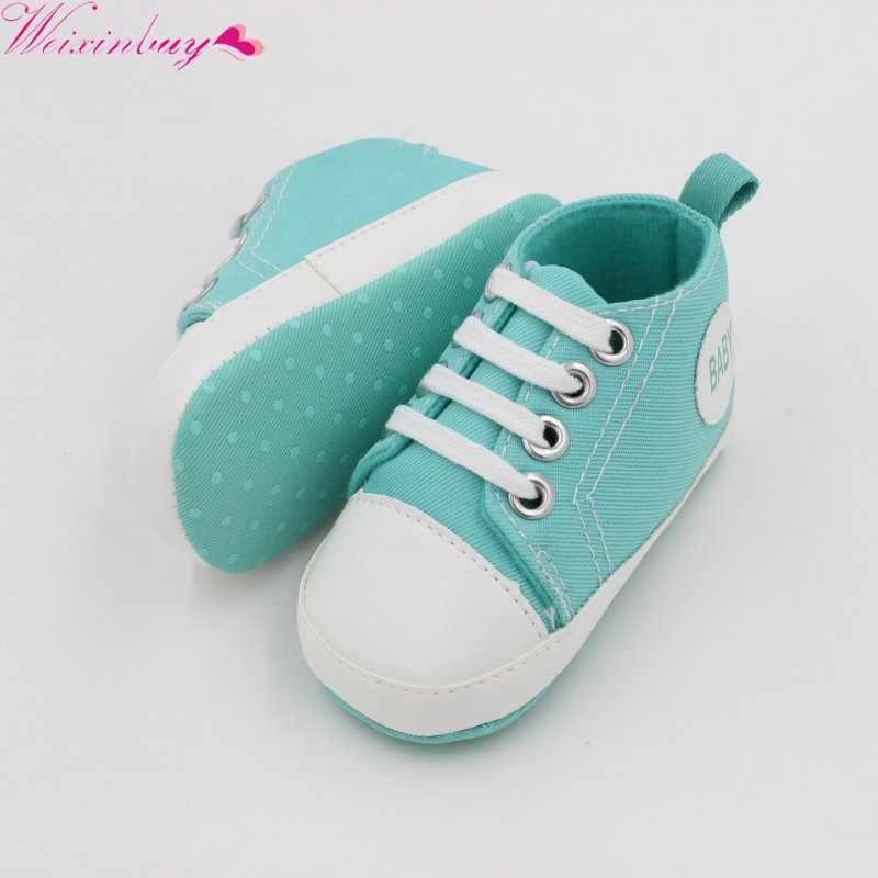 WEIXINBUY Baby Boy Shoes Newborn Kids Toddlers Canvas Cotton Crib Shoes Lace Up Casual Shoes Prewalker First Walkers