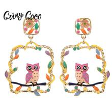 Cring Coco Hot New Fashion Hollow Geometric Earrings Girls 2019 Square Animal Bird Drop Earring for Women Wedding Party Jewelry