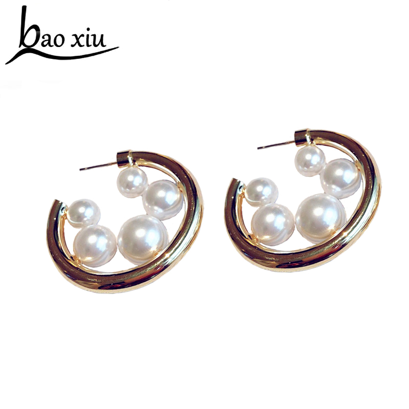 Fashion chunky Pearl Hoop Earrings Gold Big Circle Earrings for Women Exaggerated Metal Earrings Jewelry Gifts