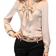 Весенняя женская Повседневная блуза, Топ с длинным рукавом и v-образным вырезом, шифоновая блузка с бантом, рубашки, Женская Офисная рубашка