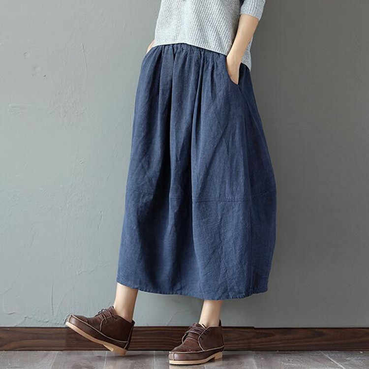 5c9f1b8244 NEW Elastic waist Cotton Linen Solid color Women Skirt Vintage Mori girl  style Casual Summer Skirt