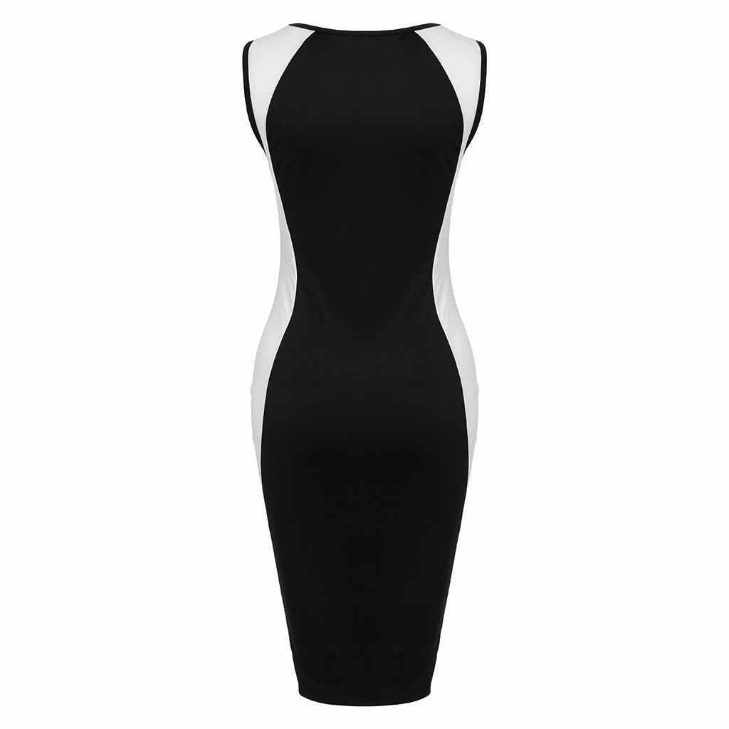 Feitong женское сексуальное платье без рукавов женское черно-белое Полосатое облегающее платье большого размера женское облегающее летнее платье