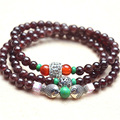 New Fashion 5mm GradeAA Garnet Bead Bracelet Tibetan Buddhist 108 Prayer Beads  Gourd mala Prayer Bracelet for Meditation
