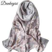 DANKEYISI чистый Шелковый шарф женские шарфы мягкие длинные шелковые шарфы с принтом Дамская дизайнерская бандана пляжные палантины хиджаб шарф