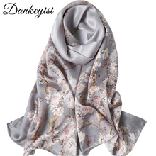 DANKEYISI Pure Silk Scarf Women Scarves Soft Long Print Silk Scarves Lady Designer Bandana Beach Stoles Hijab Scarf