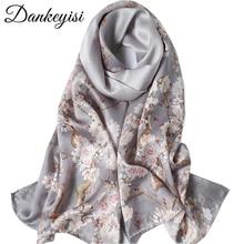 DANKEYISI 純粋な絹のスカーフ女性のスカーフソフトロングプリント絹のスカーフの女性デザイナーバンダナビーチストールヒジャーブスカーフ