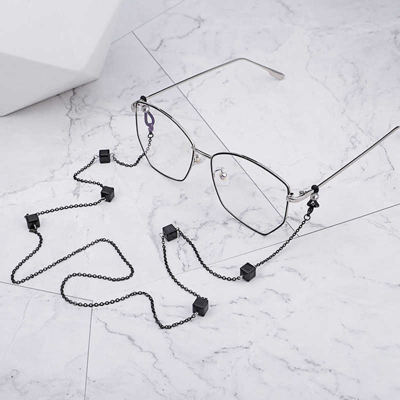 Cubic Beads Stainless Steel Link Chain Eyeglasses Chains Reading Glasses Sunglasses Strap Cord Holder Neck Headband Accessories