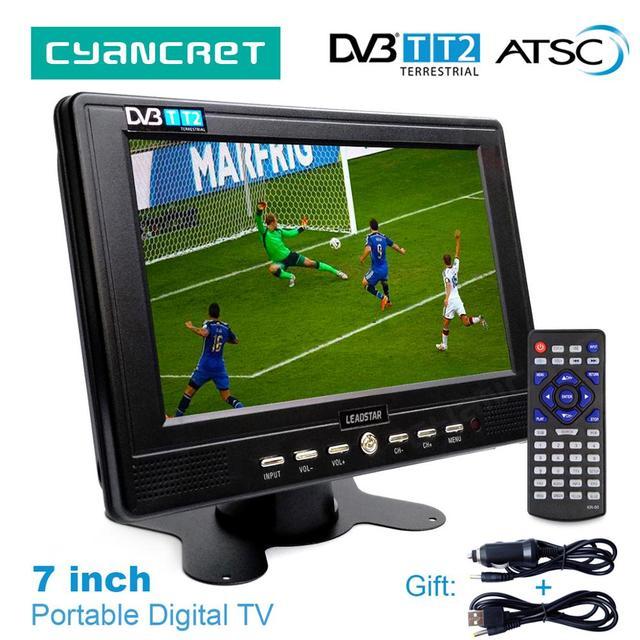 LEADSTAR D768 7 дюймов Портативный ТВ DVB-T2 ATSC tdt цифровой и аналоговый мини маленький автомобильный тв-телевизор Поддержка USB TF MP4 H.265 AC3