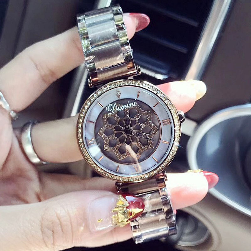 Fashion Women Stainless Steel Watch Lady Shining Rotation Dress Watch Big Diamond Wristwatches quartz Watch Clocks relojes mujerFashion Women Stainless Steel Watch Lady Shining Rotation Dress Watch Big Diamond Wristwatches quartz Watch Clocks relojes mujer