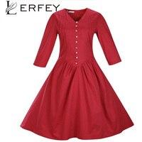 LERFEY Kadınlar Sonbahar Elbise Rahat Elbiseler V Boyun Pilili Bağbozumu Yarım Kollu Aline Retro Rockabilly Düğmeleri Elbise