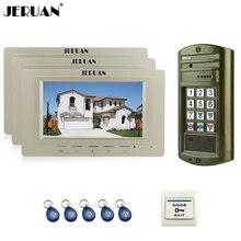 "JERUAN NEW Wired 7"" LCD Video Doorbell Door Phone Intercom System kit 3 Monitor + Metal Waterproof Password HD IR Mini Camera"