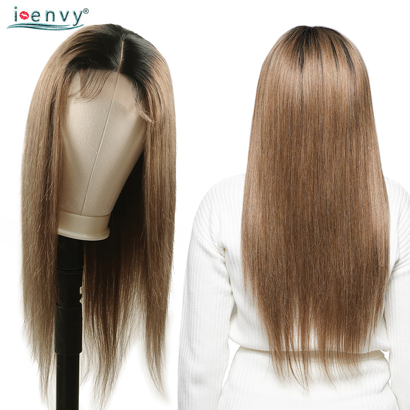 Peruvian Ombre Straight Lace Front Wig Human Hair For Black Women Colored Lime Green Wigs With Dark Roots 180 Density Non Remy
