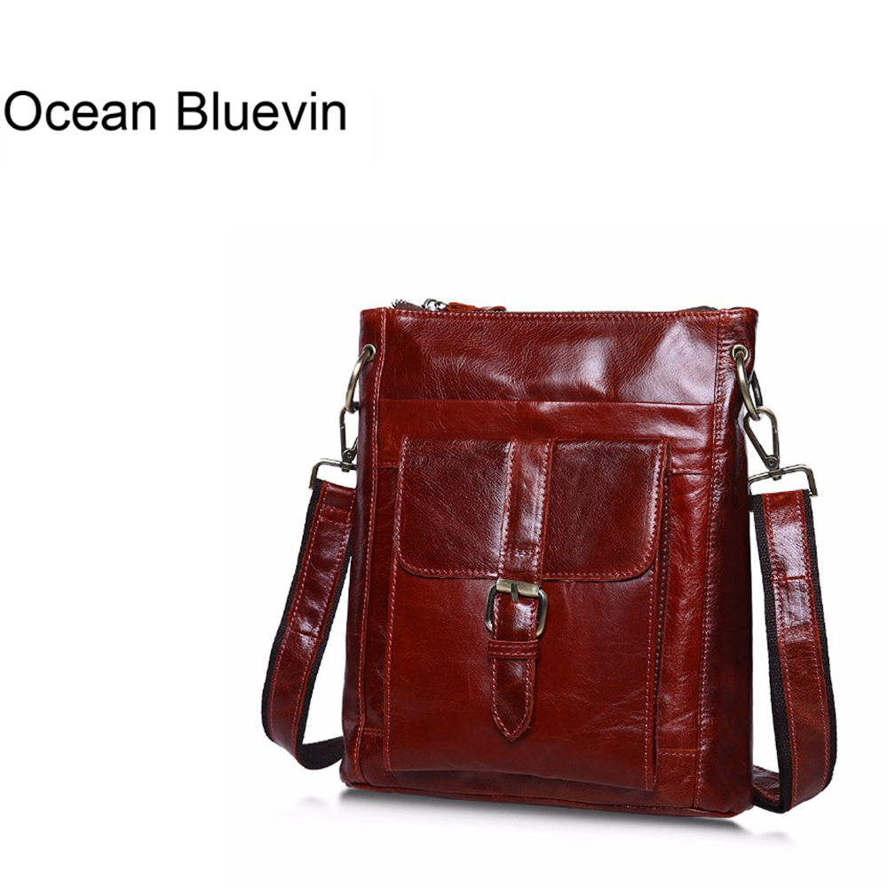 OCEAN BLUEVIN NEW Vintage Men Bag Cowhide Leather Men Messenger Bag Travel Bags Crossbody Coffer Genuine Leather Bags For Man vintage coffee genuine leather men messenger bags men s bag for ipad men shoulder bag cowhide travel bag man md j7338