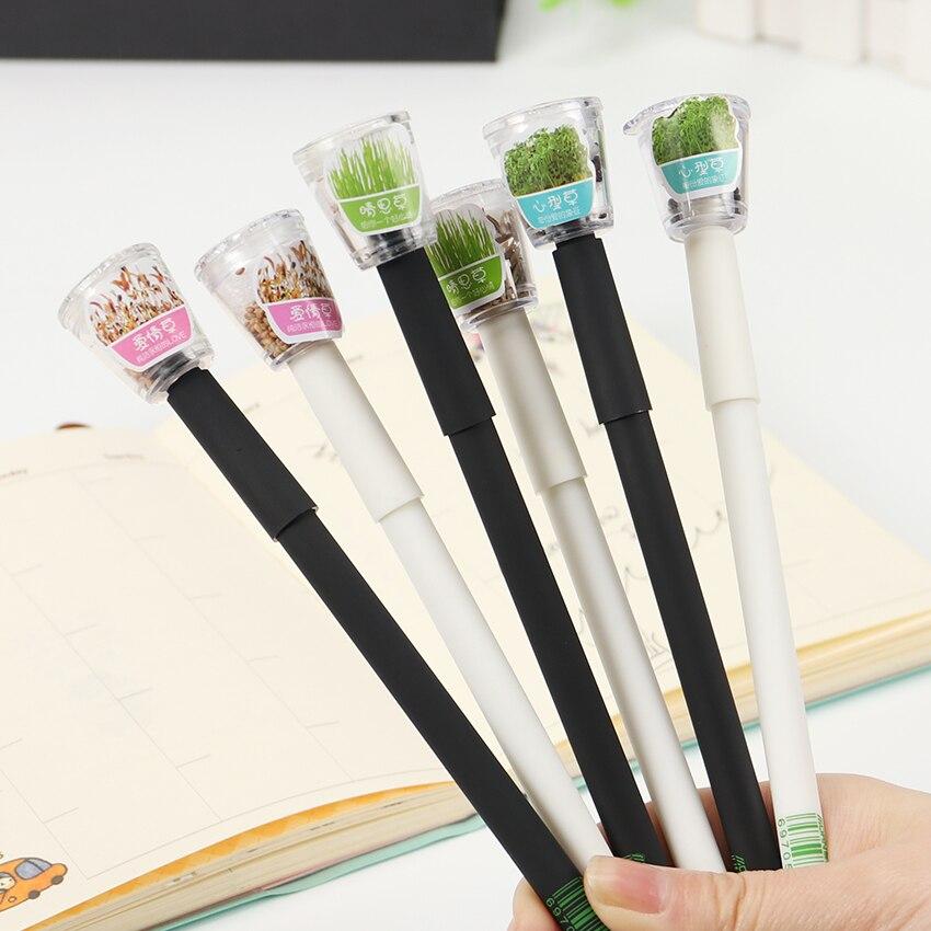 цена на 2PCS Cute Garden Grow Grass Gel Pen Kawaii Korean Stationery Creative Gift School Supplies 0.5mm Plant Gel Pen