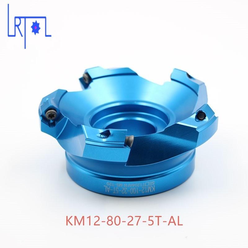 4 flutes KM12-80-27 Aluminum Mill Visage Fin de Carbure Alliage pour Lourd CNC Fraisage De Coupe 4 5hp fin