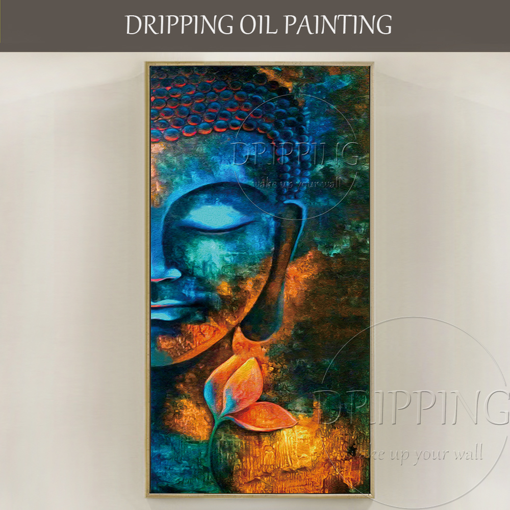 Gifted Artist Pure Hand-painted Colorful Buddha Oil Painting on Canvas Beautiful Buddha Portrait Oil Painting for Living Room