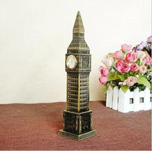 Metal Crafts London Big Ben Building Model Creative Home Crafts Decoration with clock