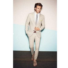 Custom Made Wedding Beige Real Cheap Tuxedo Picture of Three-Piece Men Formal Suits Groom (jacket + Pants + tie)