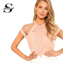 Sheinside Pearl Beading Mesh Top Women Pink Tied Neck Cap Sleeve Stand Collar Blouse Shirt 2018 Summer Elegant Work Wear Blouse