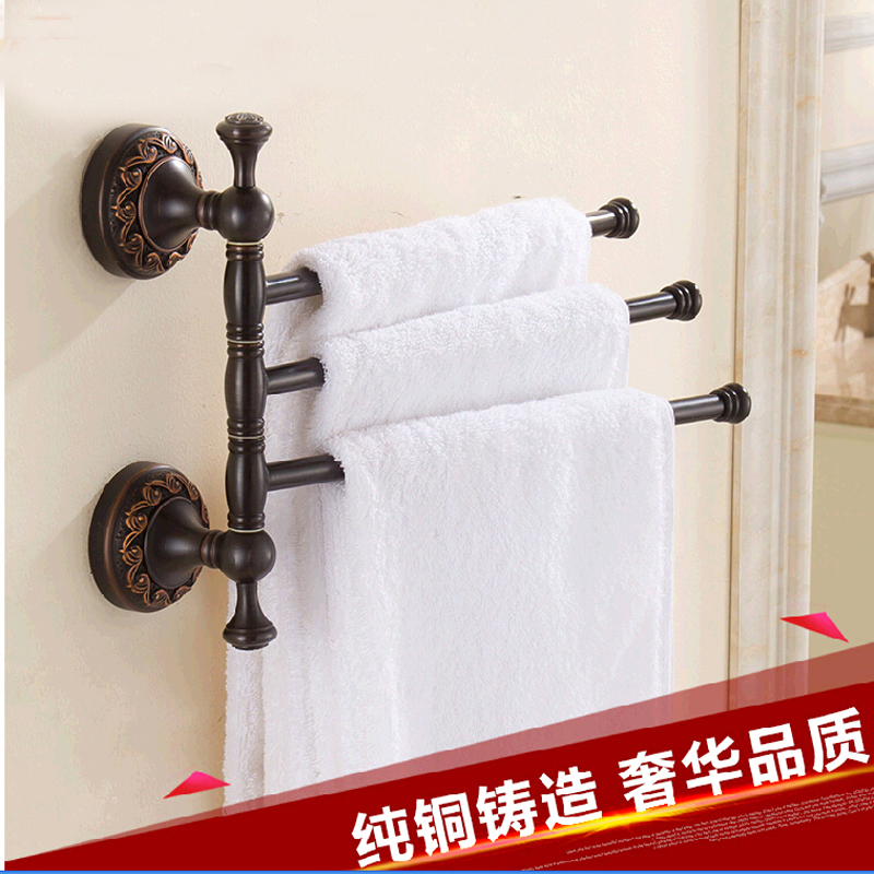 Wholesale And Retail Luxury Oil Rubbed Bronze Wall Mounted Towel Rack Holder 3 Swivel Bars Flower Carved Solid Brass Towel Hook цена и фото