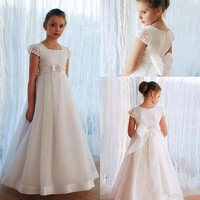 Vintage Organza Kids Formal Wear Cap Sleeves Square Neck Customized Flower Girl Dress For Wedding Holy First Communion Gowns