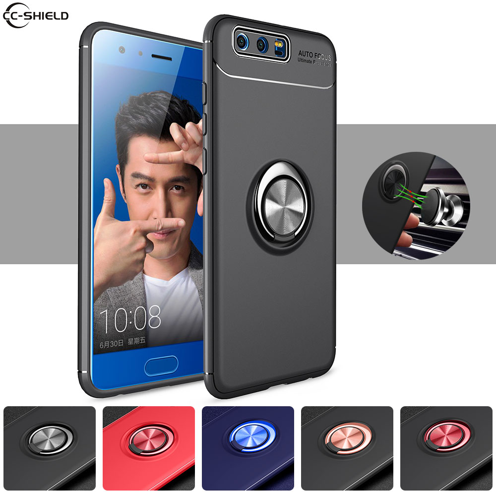 Soft Silicone Case for Huawei Honor 9 Premium STF L09 Case Rotating Metal Ring Phone Cover