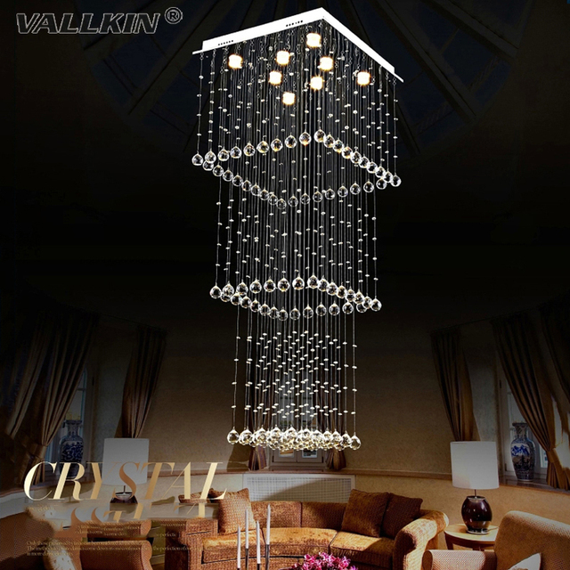 Vallkin Led Square Crystal Chandelier Pendant Lamp Modern Chandeliers Lamps Hallway Hotel Mall Stairs Decoration