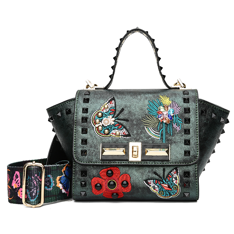 Crossbody Bags For Women Rivet Flower Messenger Bags Vintage PU Leather Handbags Female Famous Brand Colorful Strap Shoulder Ba