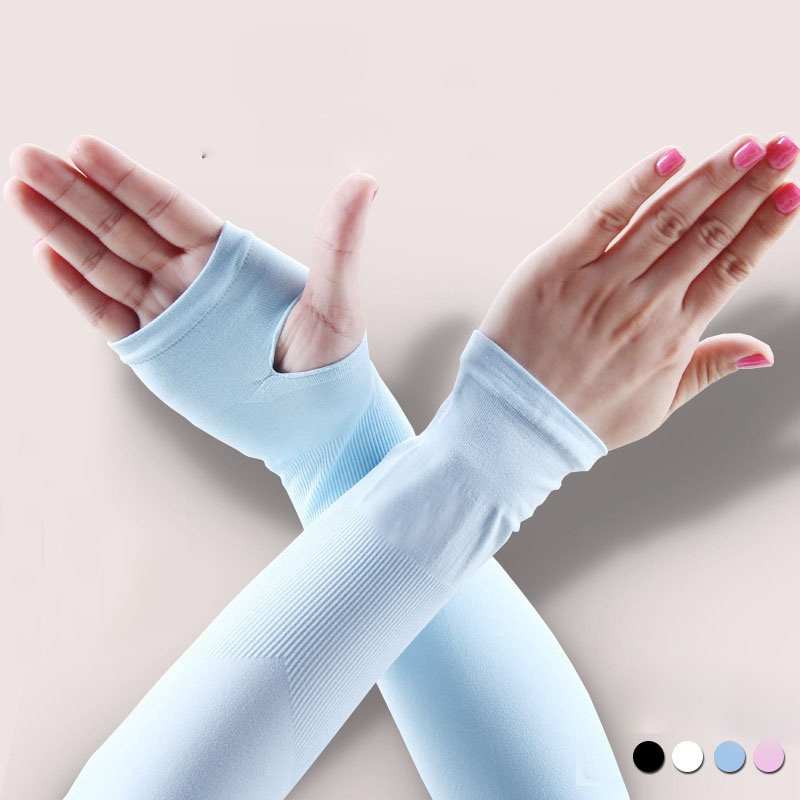 1Pairs Women Summer Mitten Long Sunscreen Gloves Female Electric Bicycle Arm Sleeve Anti-Uv Oversleeps Semi-Finger Gloves