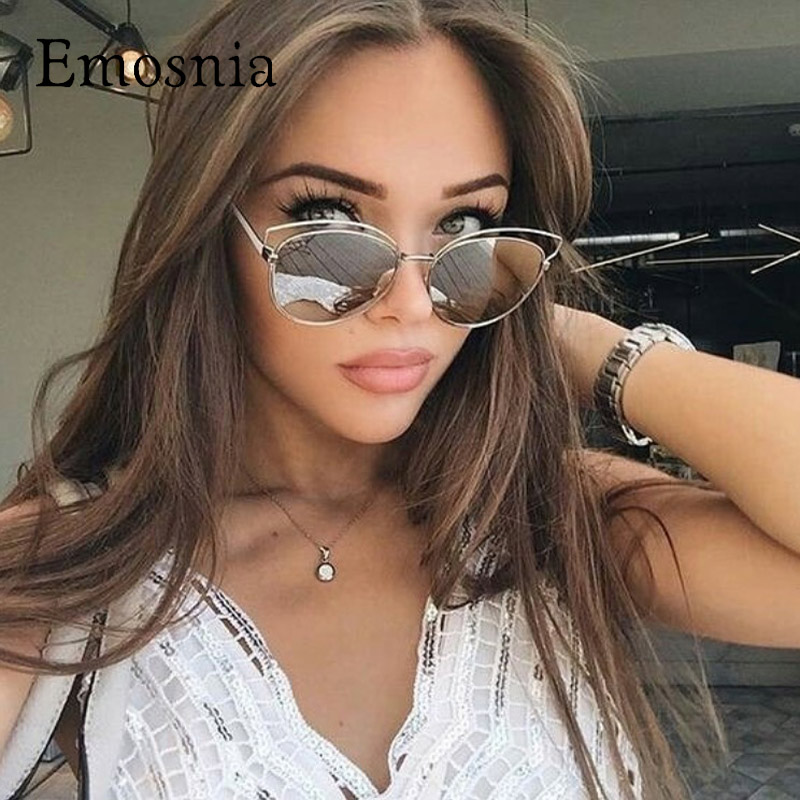 Emosnia Cateye Sun Glasses Ladies Luxury Brand Sunglasses Women Retro Sunglasses Mirror Designer Oculos Lunette Femme Sunglasses
