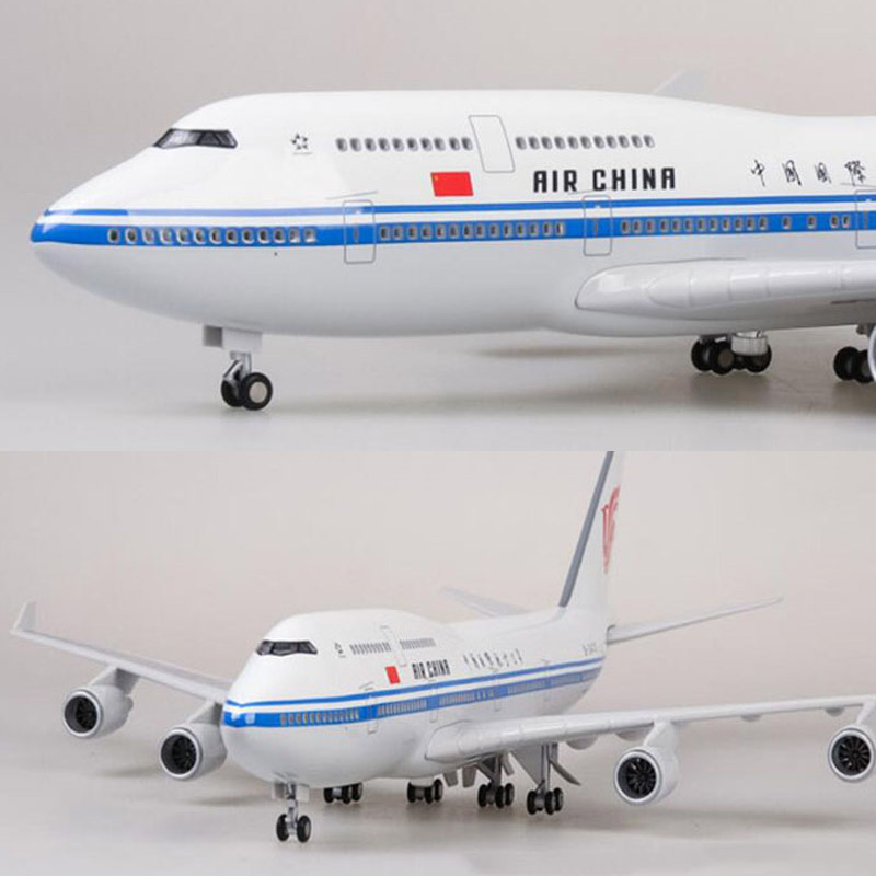 47CM 1/150 Scale Airplane Boeing B747 Aircraft Air China Airlines Airways Model W Light and Wheel Diecast Plastic Resin Plane